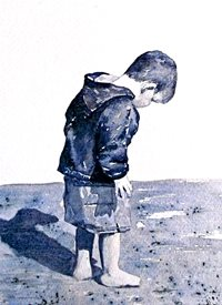 General artwork beach seaside boy child monochrome for-children personalised online greeting card