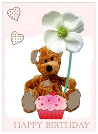 Birthday Bear Flower Cute hearts cake personalised online greeting card