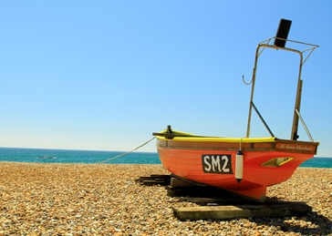 photography Fishing Boats, Worthing, Seaside, Beach personalised online greeting card