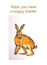 EmilyJane Hoppy Easter 2 Easter Rabbit bunny wildlife orange yellow dad son  granddad  uncle mum daughter Nan aunt friend personalised online greeting card