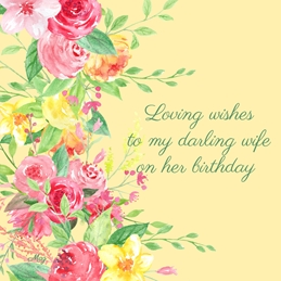 Birthday Flowers Pink Orange Yellow Green Wife Wholesale personalised online greeting card