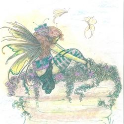 General fairy, fantasy, artistic, hand drawn, butterflies personalised online greeting card