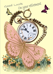retirement Retirement unisex for-her for-him Gold Watch Butterfly Flowers Yellow Green Pink Purple Wholesale personalised online greeting card