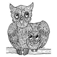 art owls, birds, love, mother and child, black and white, drawing, personalised online greeting card