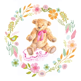 Baby birthday Pink Teddy personalised online greeting card