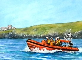 General artwork lifeboat boats sea for-him personalised online greeting card