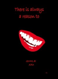 General smiling mouth black red white Inspiration personalised online greeting card