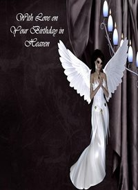 Birthday Angel black white sad heaven z%a personalised online greeting card