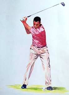 art golfer golf man sport person pink brown green for-him personalised online greeting card
