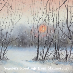 Christmas Winter Sunshine, Malmesbury Christmas art painting pastel personalised online greeting card