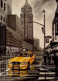 fineart New York city taxis yellow cabs for-him for-her cityscapes roads buildings skyscrapers cars general blank all occasions for- him boyfriends dads uncles brothers birthday america fineart architecture fathers personalised online greeting card