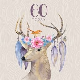 Birthday Age Card, 60, 60th, For-Her, For-Him, Old Deer,  personalised online greeting card