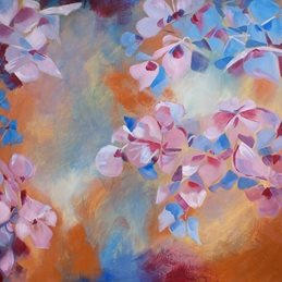 art Hydrangeas Abstract painting  personalised online greeting card