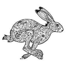 art hare, animal, wildlife, drawing, black and white, drawing, personalised online greeting card