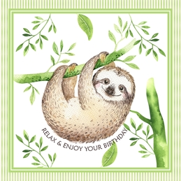 Birthday Sloth, For-Him, For-Her, Animal, Cute, wildlife personalised online greeting card