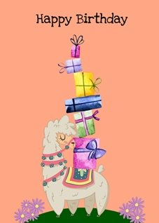 Birthday llama presents gifts alpaca personalised online greeting card