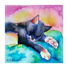 art birthday general ^black cat^, ^mother's^, ^female birthday^, ^cards for her^, ^wife^, ^nan^, ^grandmother^, ^watercolor animals^, ^fine art cats^, ^pussycats^, ^cat illustrations^, ^ink drawings^, ^watercolor art^, personalised online greeting card