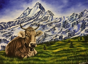 Art By Three  Swiss Alps- Wetterhorn Grindewald Art mountains alps switzerland cows bells alpine meadows countryside snow for-her for-him for-child animals  personalised online greeting card
