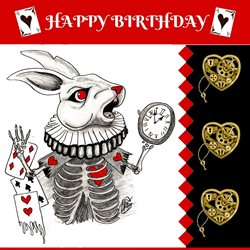 Lizzy'sCardsLTD Alice Madness Birthday Card 2 - White Rabbit Birthday Madness, alice, wonderland  white rabbit,  z%a personalised online greeting card