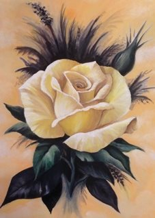 Art By Three  Yellow Rose art single yellow roses flowers for-her mums nans aunts sisters her girlfriends anniversary sympathy oils art blank general all occasions  floral leaves blooms  petals nature for-her personalised online greeting card