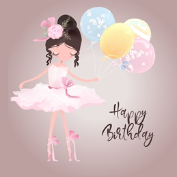 Snappyscrappy Birthday Card Birthday For-Children, For-Girl, Ballerina, Ballet Dancer personalised online greeting card