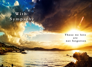 Sympathy sympathy, condolence, bereavement, sunset, coast, seascape, photographic, scenic personalised online greeting card