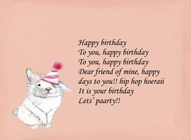 birthday for-her,pink, rabbit, hat, cat, fun, party animals personalised online greeting card