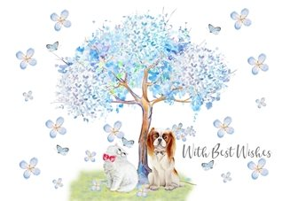 Birthday Cute, Cat, Dog, Blossom, Tree, general personalised online greeting card