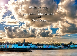 Christmas, Xmas, donaghadee, northern ireland, landscae, sea, coast, clouds, sun, warm, serene, tranquil, andbc personalised online greeting card