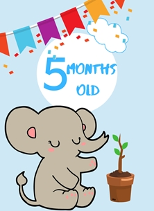 Elephant,Banner,Milestone 5 Months, Colourful, Plant,  personalised online greeting card
