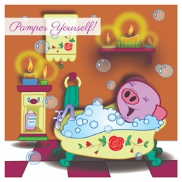birthday Pig cards, pigs, animals, cartoon pigs, pamper yourself, her birthday, mum birthday, sister birthday, sister, bath time,, indulgence,  personalised online greeting card