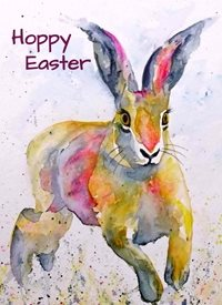 Easter artwork rabbit bunny hare for-him for-her for-children personalised online greeting card