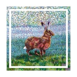 Art hare, wildlife, animals,  personalised online greeting card