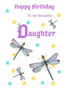 Her Nibs  Dragonflies and stars  Birthday For Her For Children Dragonflies Stars Purple Yellow Blue White Happy  personalised online greeting card