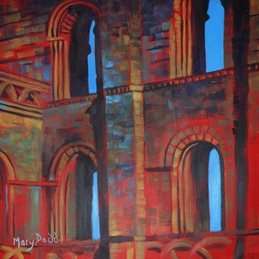 art Abbey Malmesbury Abstract Red painting art card  personalised online greeting card