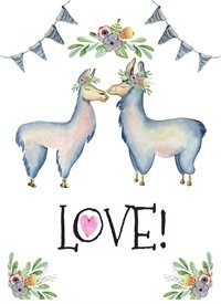 Valentines love, valentines, Llamas, romance, romantic, birthday, engagement, wedding, valentines day, anniversary, children's personalised online greeting card