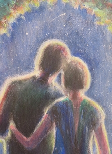 Little Liz Happy Art The Stars are Bright art general couple, in love, stars, star gazing, night sky, make a wish, shooting star,  personalised online greeting card