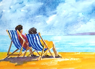 EmilyJane Deckchairs general artwork beach sea sand water sky deckchairs people for-her for-him personalised online greeting card