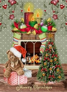 christmas tree gifts candles celebrate family friends  xmas personalised online greeting card