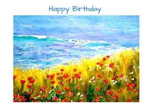 Birthday artwork poppies landscape fields sky flowers for-her personalised online greeting card