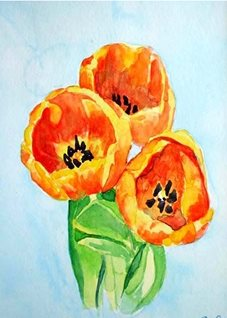 Art artwork tulips flowers  for-her personalised online greeting card