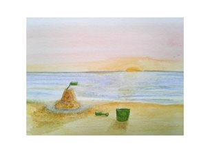 art children sunsets sandcastles watercolour for-child  personalised online greeting card