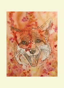 art  greeting cards by C4C Portraits - Sarah Flannery Fox Animal Fox with mount