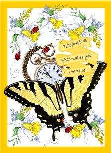 General Butterfly Vintage Pocket Watch Flowers Daffodils Lady birds Yellow Black White Red Green Blue Inspirational personalised online greeting card