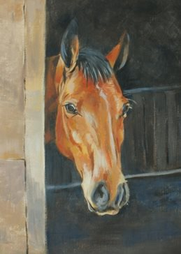art  general Horse brown portrait painting art card portrait artist birthday anniversary personalised online greeting card