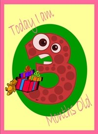 Birthday Colourful Spotty 3 teddy and gifts  personalised online greeting card