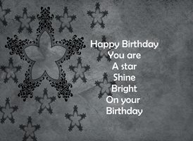 Birthday Star, grey, white, celebration, happy z%a personalised online greeting card