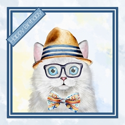 Birthday Cat, Male, for-him, hat, bow tie, white,  personalised online greeting card