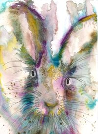 Art Hare, Hares, Rabbits, Animals, Happy personalised online greeting card
