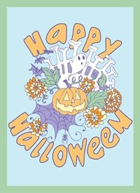 Halloween Autumn, skull, bones, jack-o-lantern, pumpkin, bones, spider, spiderwebs, chrysanthemums, mums, ghost, spooky personalised online greeting card